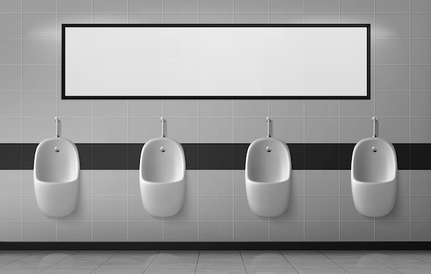 Urinals in male toilet hanging in row on ceramic wall with empty banner or mirror Free Vector