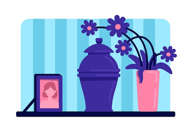 Urn with ashes flat color . funeral tradition. dead woman portrait and flowers on table. home living room 2d cartoon interior with deceased female picture on background Premium Vector