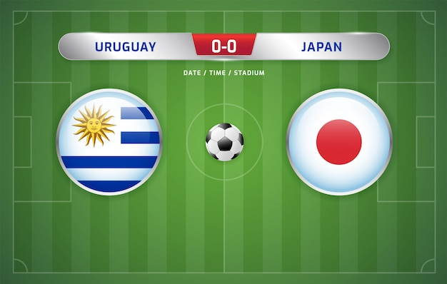 Uruguay vs japan scoreboard broadcast soccer south america's tournament 2019, group c Premium Vector