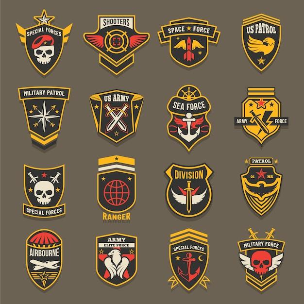 米軍のシェブロン、軍のエンブレム、海兵隊と空軍のバッジ。 Premiumベクター