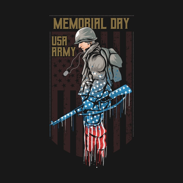 Us army memorial day with america flag artwork Premium Vector