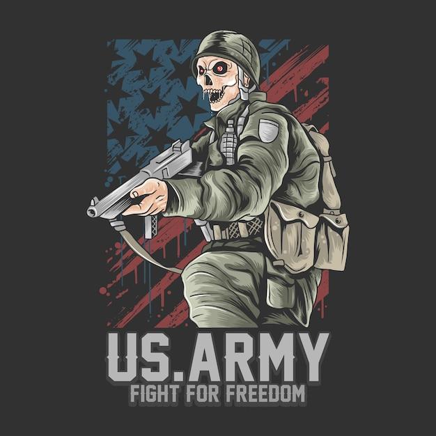 米軍。武器のベクトルを持つ米国の兵士 Premiumベクター