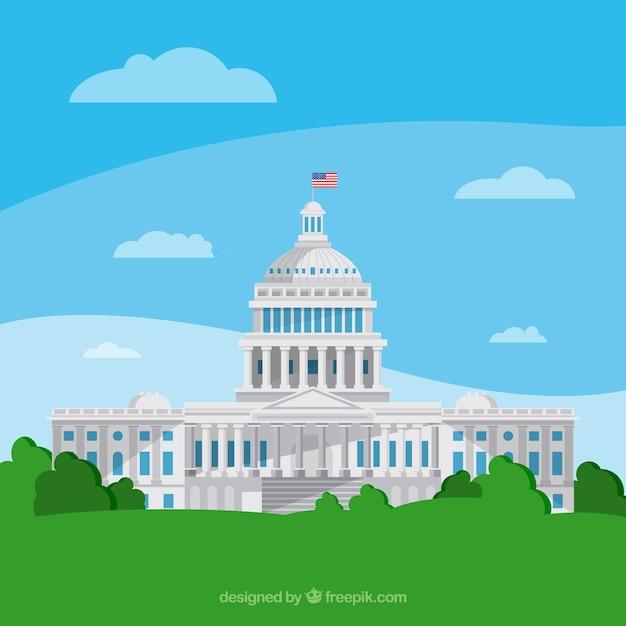Us congress building with flat design Premium Vector