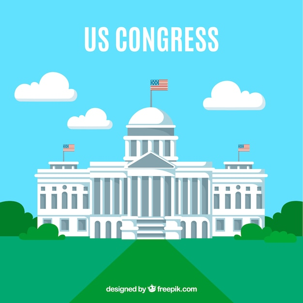 Us congress building with flat design Free Vector