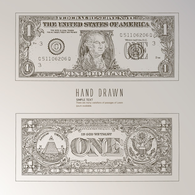 Us dollar hand drawn Free Vector