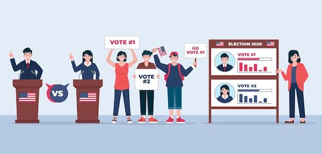 Иллюстрация сцены избирательной кампании сша Premium векторы