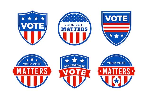 米国大統領選挙のロゴパック Premiumベクター