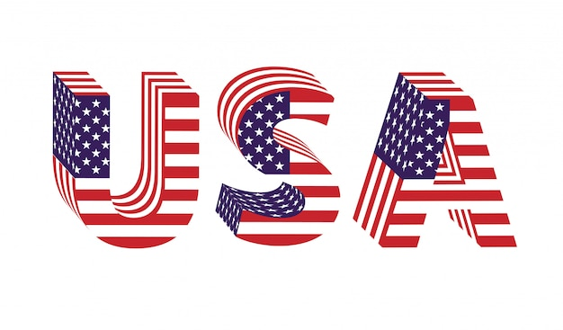 Usa 3d letters from flag Premium Vector