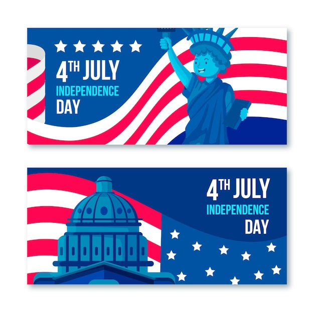 Usa 4th of july white house banners Free Vector