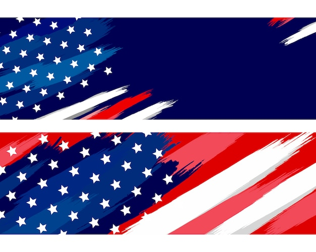 Usa or american flag paintbrush on white Premium Vector