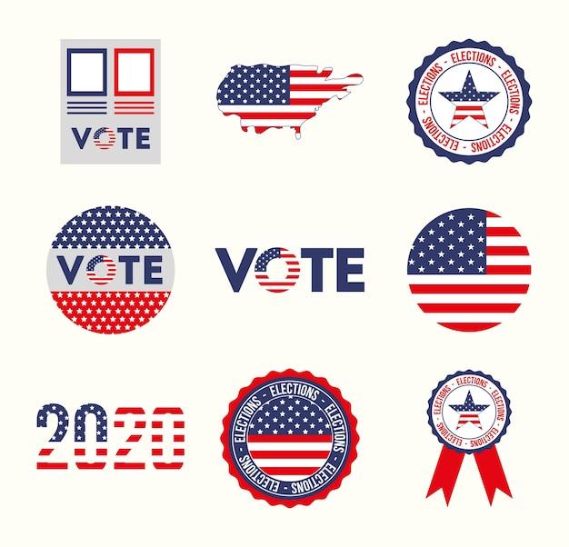 미국 및 투표 아이콘 세트 디자인, 대통령 선거 정부 및 캠페인 테마 프리미엄 벡터