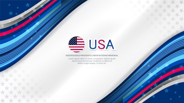 Usa background for independence day Premium Vector