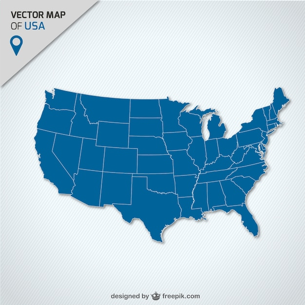 USA Blue Map Vector Free Download - Free usa map vector