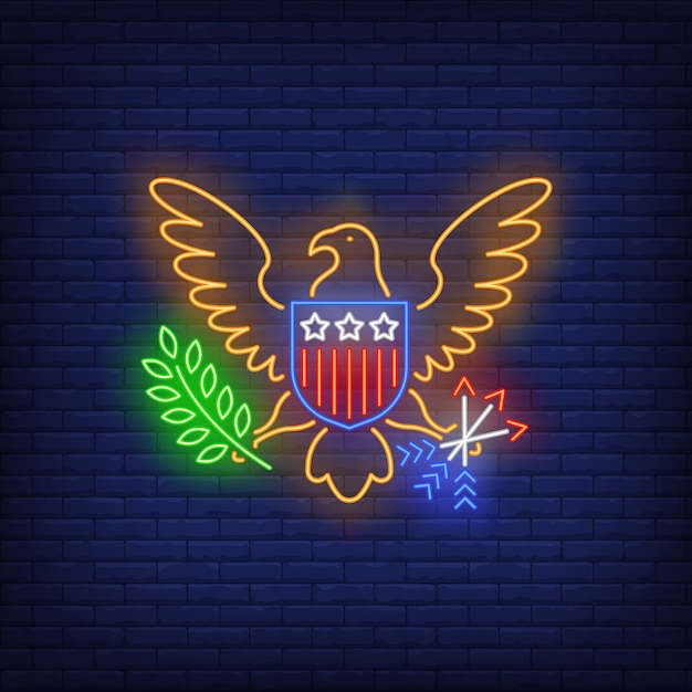 Usa coat of arms neon sign Free Vector