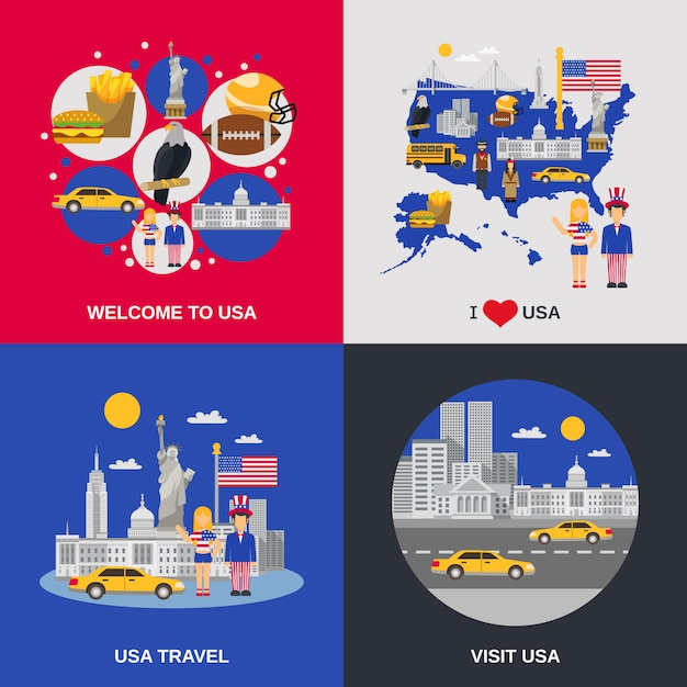 Usa culture 4 flat icons square Free Vector