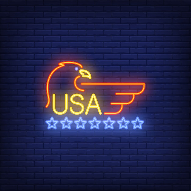 Usa and eagle symbol with stars on brick background. neon style illustration. Free Vector