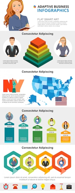 Usa economy and business planning infographic charts set Free Vector
