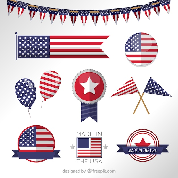 usa flag banners vector free download