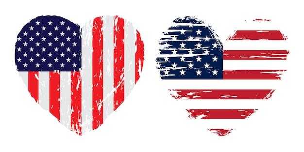 Usa flag heart in grunge style Premium Vector