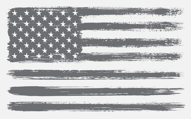 Usa flag made with brushes Premium Vector