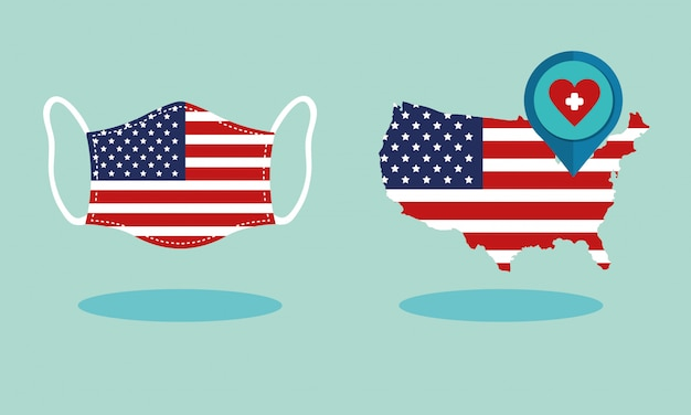 Usa flag in map and face mask covid19 pandemic Free Vector