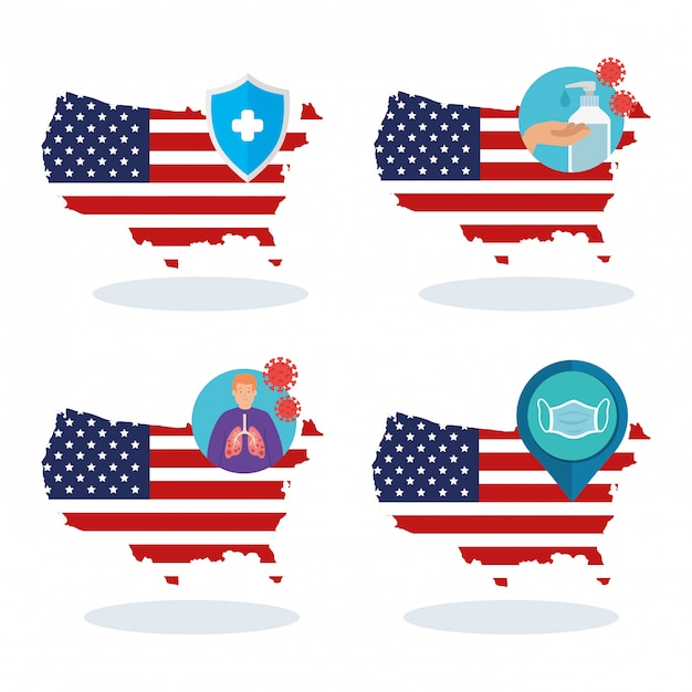 Usa flag and map in set covid19 icons Free Vector