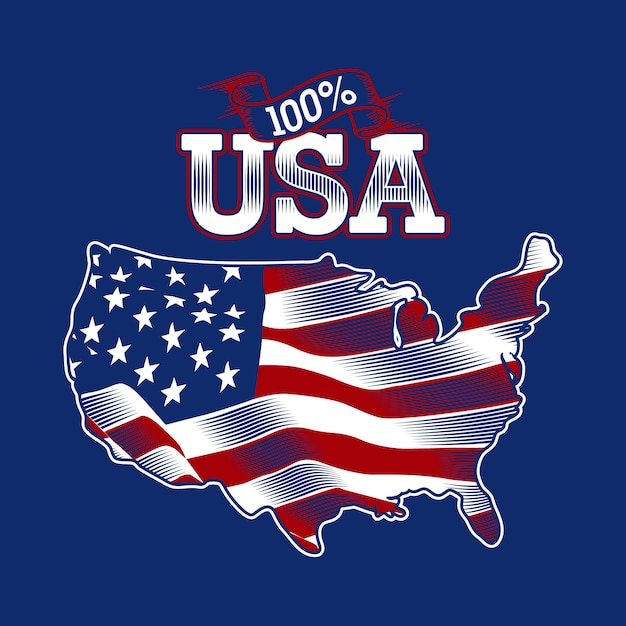 Usa flag map Premium Vector