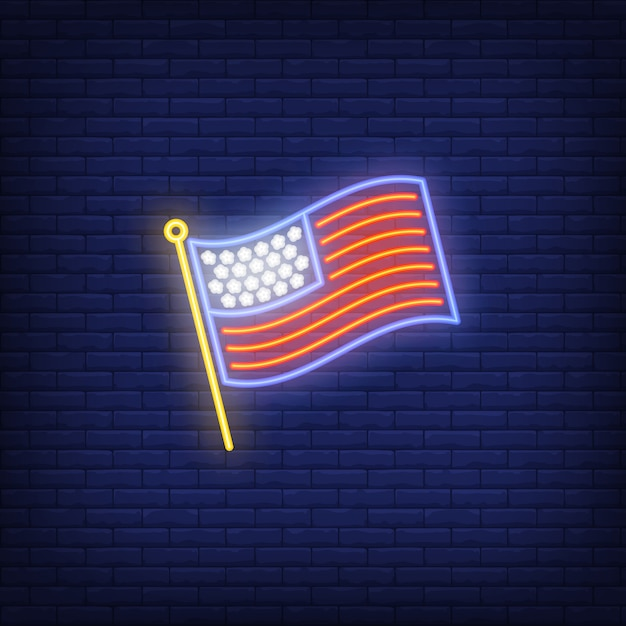 USA flag on brick background. Neon style\ illustration. USA symbol, country, America.