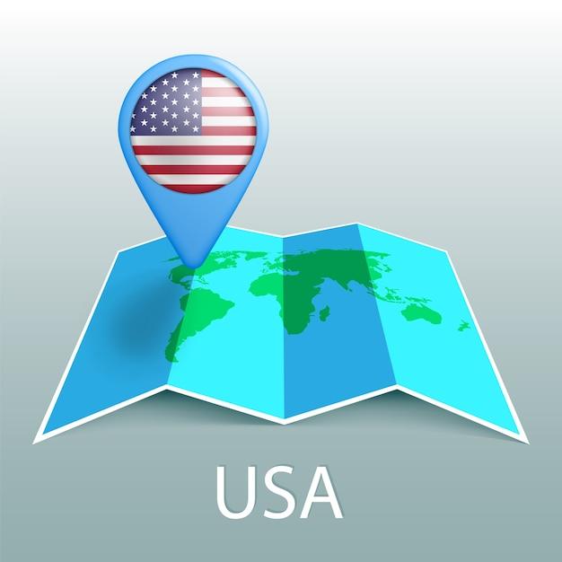 世界地図のピンの米国旗。 Premiumベクター