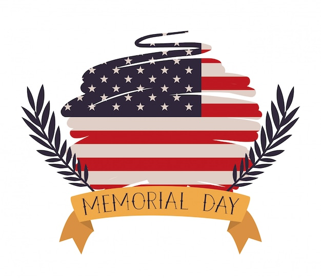 Usa flag painted with wreath of memorial day emblem Premium Vector