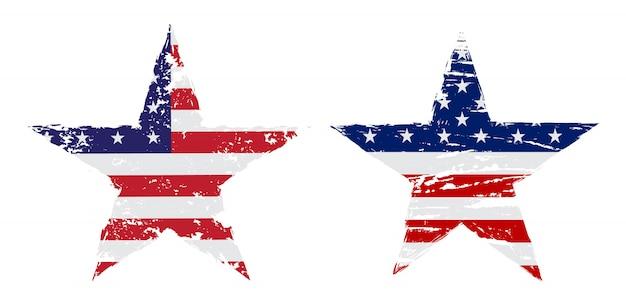 グランジスタイルのアメリカ国旗スター Premiumベクター