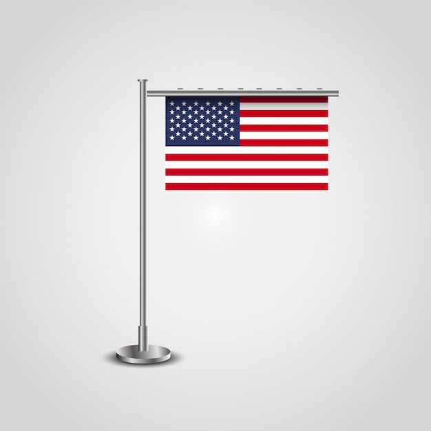 USA flag with stand. Free Vector