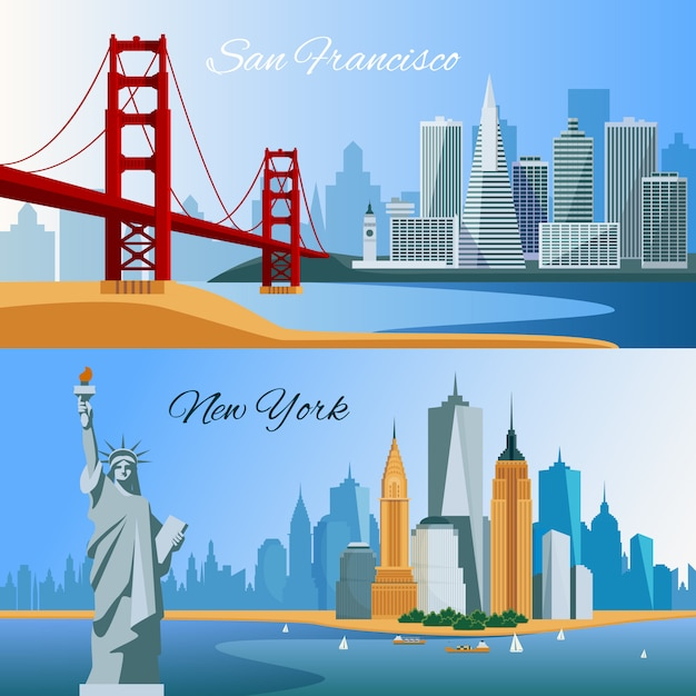 Usa horizontal flat banners with san francisco and new yourk cityscapes Free Vector