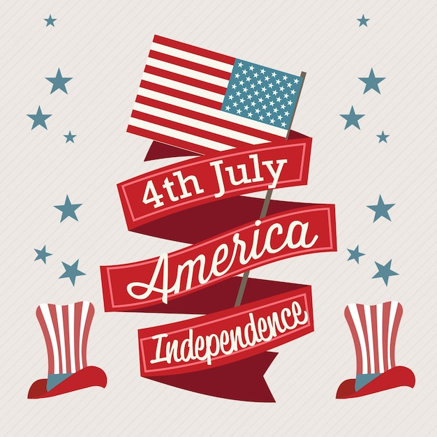 Usa icons (4th of july independence day) with hat and flag Premium Vector