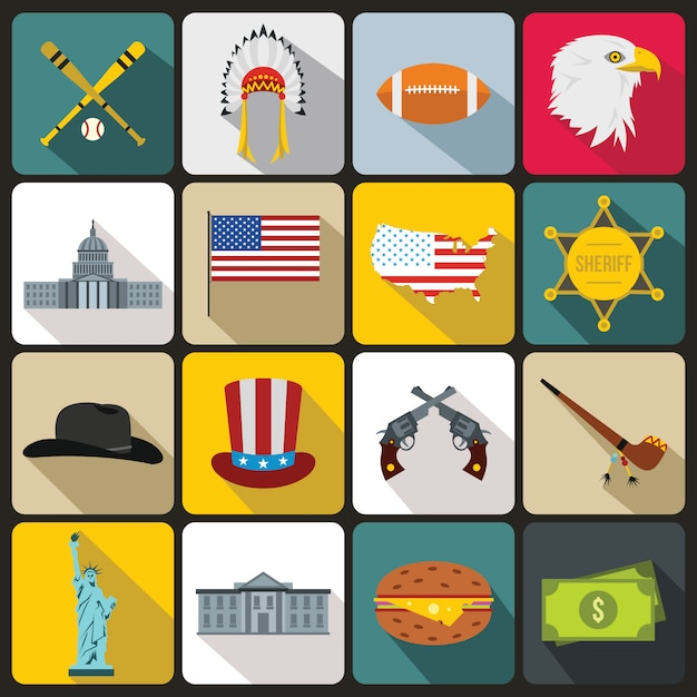 Usa icons set, flat style Premium Vector
