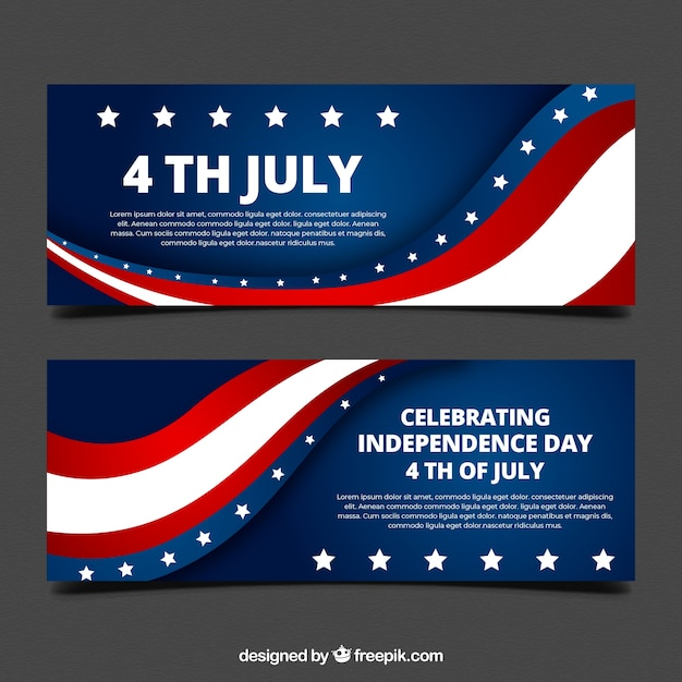 Usa independence banners with flat design Premium Vector