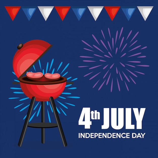 Usa independence day barbeque party Free Vector