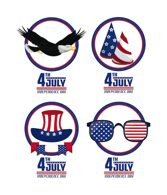 Usa independence day cards Premium Vector