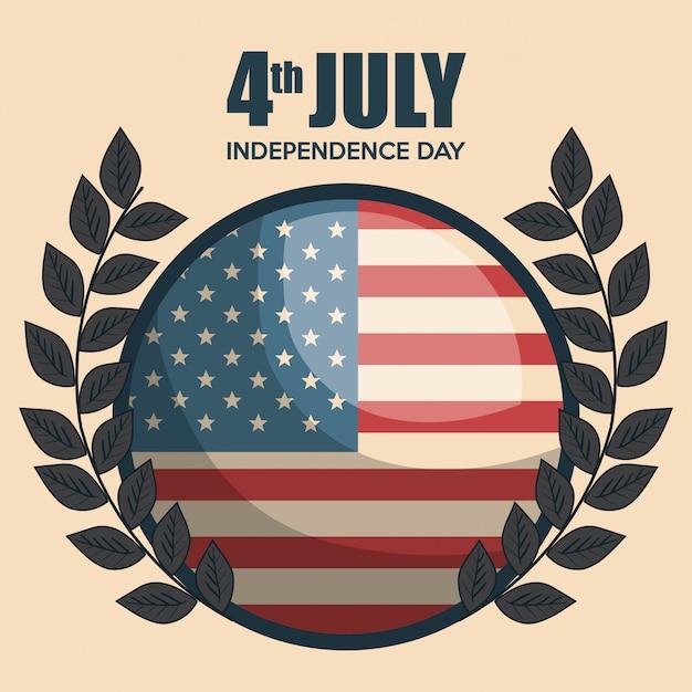 Usa independence day emblem celebration Free Vector