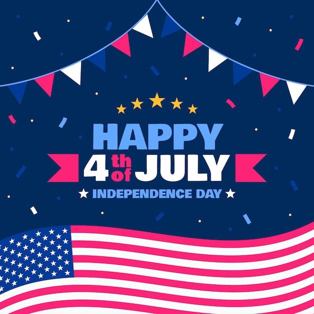 Design piatto per il giorno dell'indipendenza degli stati uniti Vettore gratuito