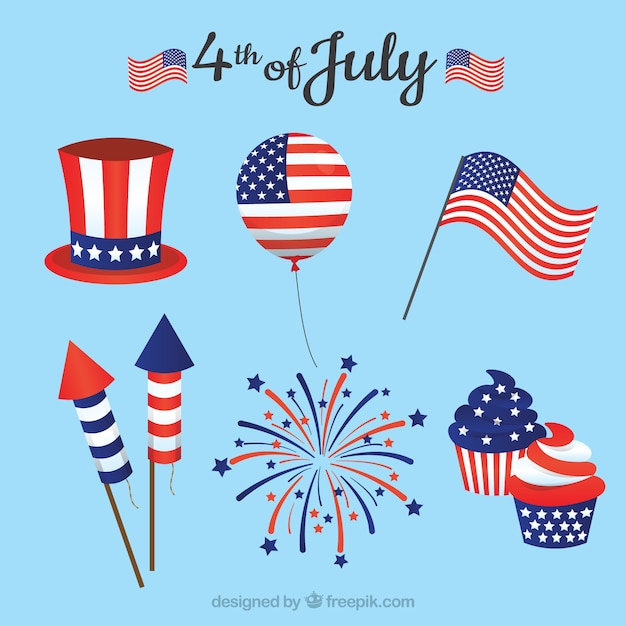 Usa independence day flat element collection Free Vector