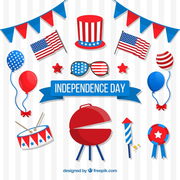 Usa independence day flat element collection Vector | Free Download