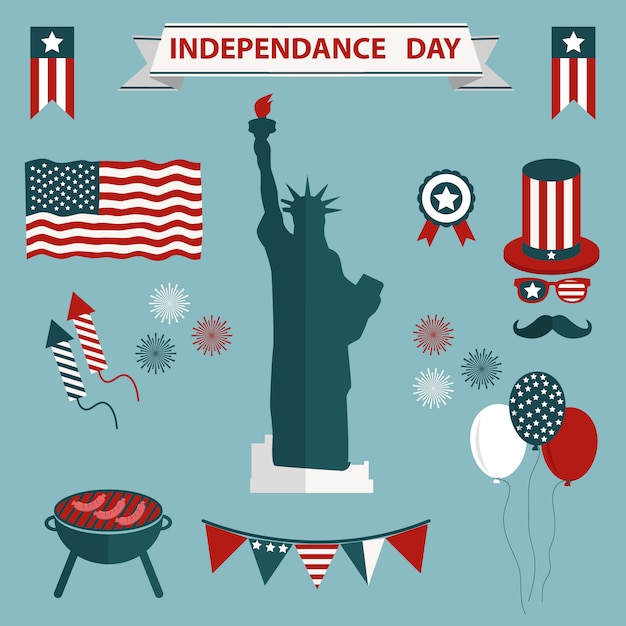Usa independence day icons colelction Free Vector