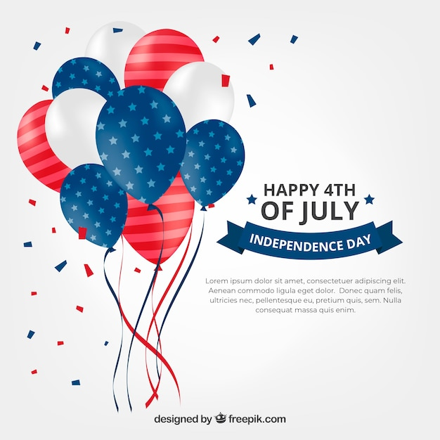 Usa independence day's composition with 2d balloons Free Vector