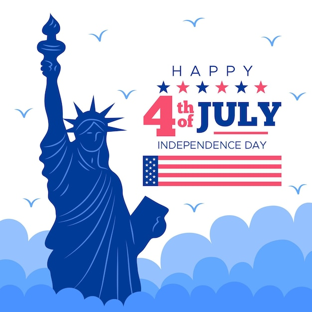 Usa independence day statue of liberty Free Vector