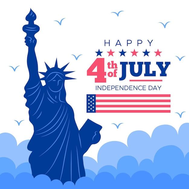День независимости сша, статуя свободы Premium векторы