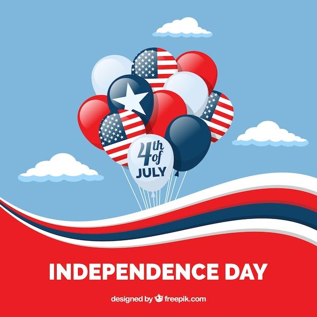 평평한 풍선과 함께 미국 독립 기념일 무료 벡터