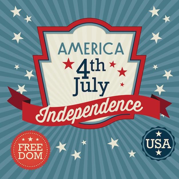 Usa label (independence day) on vintage background Premium Vector