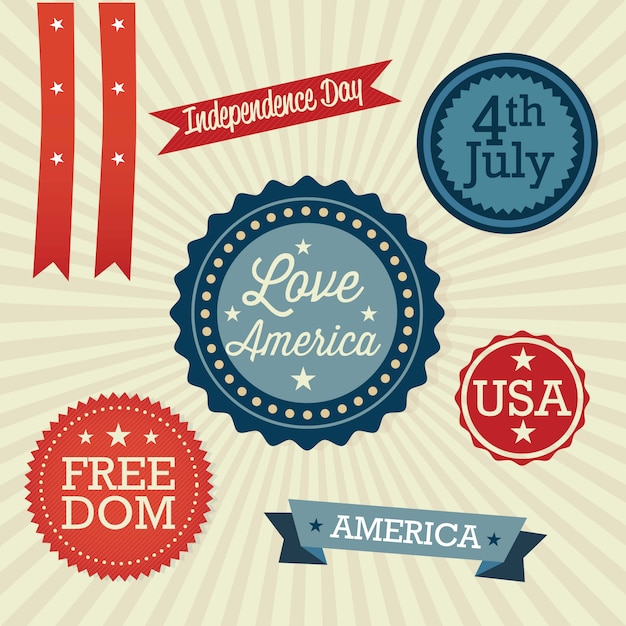 Usa labels collection on vintage background Premium Vector