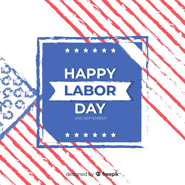 Usa labor day background in flat style Free Vector